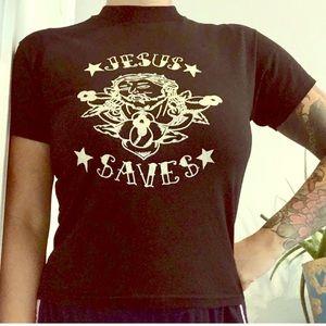Jesus Saves black graphic tee: men/women/juniors